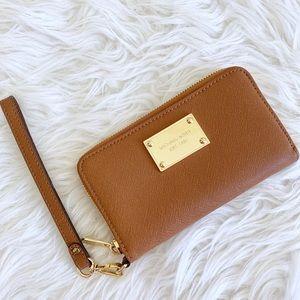 Michael Kors Cognac Gold Wallet Wristlet